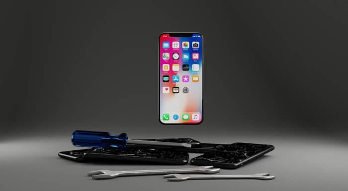 iPhone x mit Werkzeugen
